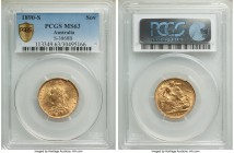 Victoria gold Sovereign 1890-S MS63 PCGS, Sydney mint, KM10, S-3868B. Light lemon-yellow indicative of a high silver content (as is common for Austral...