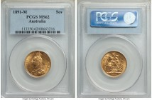 Victoria gold Sovereign 1891-M MS62 PCGS, Melbourne mint, KM10. Very attractive for its assigned grade, a radiant example with very clean fields. From...