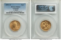 Victoria gold Sovereign 1891-S MS62 PCGS, Sydney mint, KM10, S-3868C. Some slight abrasions to Victoria's neck and roughness to the highpoints of the ...