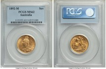 Victoria gold Sovereign 1892-M MS62 PCGS, Melbourne mint, KM10. Extremely attractive, a conservatively graded example with minimal handling marks. Fro...