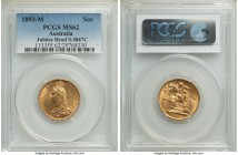 Victoria gold Sovereign 1893-M MS62 PCGS, Melbourne mint, KM10, S-3867C. Numerous minor abrasions define the grade, but nevertheless a strong Mint Sta...