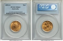 Victoria gold Sovereign 1893-S MS63 PCGS, Sydney mint, KM10. Jubilee head. The scarcer 'Jubilee' depiction of Victoria from her portrait crossover yea...