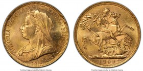 Victoria gold Sovereign 1893-M MS62 PCGS, Melbourne mint, KM13, S-3875. Veiled head. Remarkably attractive for its assigned grade, cartwheel luster ap...
