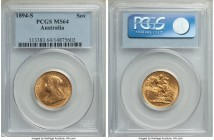 Victoria gold Sovereign 1894-S MS64 PCGS, Sydney mint, KM13. Seldom offered, tied for the finest seen by NGC or PCGS. Were it not for a graze in the o...