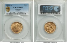 Victoria gold Sovereign 1896-M MS63 PCGS, Melbourne mint, KM13, S-3875. Awash with delicate luster. From the Caranett Collection of Sovereigns - #1 PC...