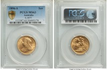 Victoria gold Sovereign 1896-S MS63 PCGS, Sydney mint, KM13, S-3877. Almost at the peak of quality for this veiled head type, just one MS64 seen by PC...
