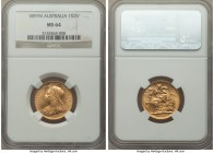 Victoria gold Sovereign 1897-M MS64 NGC, Melbourne mint, KM13. The second finest example of the date at NGC, with a mere 2 pieces awarded gem status a...