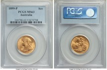 Victoria gold Sovereign 1899-P MS63 PCGS, Perth mint, KM13, S-3876. One notable mark to Victoria's cheek, otherwise a firmly choice offering and unusu...