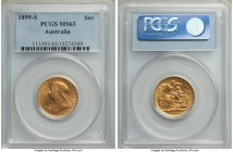Victoria gold Sovereign 1899-S MS63 PCGS, Sydney mint, KM13. Just one example has been graded higher than the present offering by either NGC or PCGS. ...