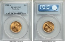 Victoria gold Sovereign 1900-M MS63 PCGS, Melbourne mint, KM13. A vivid honey-yellow example with a blend of satin and reflective luster. From the Car...