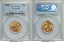 Victoria gold Sovereign 1900-P MS63 PCGS, Perth mint, KM13. A choice Mint State selection with subdued luster, the planchet a pale champagne color wit...