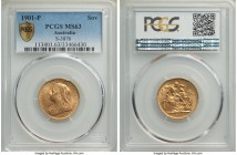 Victoria gold Sovereign 1901-P MS63 PCGS, Perth mint, KM13, S-3876. The obverse of this charming Sovereign exhibits the usual satin effect, the revers...