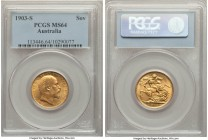 Edward VII gold Sovereign 1903-S MS64 PCGS, Sydney mint, KM15. Currently tied for finest graded by NGC or PCGS, an almost flawless representative boas...
