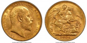 Edward VII gold Sovereign 1904-P MS63 PCGS, Perth mint, KM15, S-3972. The joint finest certified by either NGC or PCGS, the obverse of this offering i...