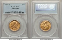 Edward VII gold Sovereign 1904-S MS63 PCGS, Sydney mint, KM15. Slightly weak to the highest points, but still firmly choice Mint State with attractive...