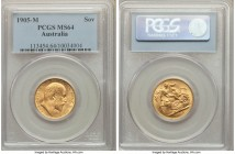Edward VII gold Sovereign 1905-M MS64 PCGS, Melbourne mint, KM15. The finest graded by PCGS, tied with just one other example at NGC. Besides some wea...