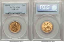 Edward VII gold Sovereign 1905-P MS64 PCGS, Perth mint, KM15. No comparable specimens of this quality have been certified by NGC, with just one other ...