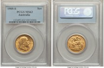Edward VII gold Sovereign 1905-S MS63 PCGS, Sydney mint, KM15. Lemon-gold with swirling cartwheel luster. From the Caranett Collection of Sovereigns -...