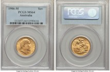 Edward VII gold Sovereign 1906-M MS64 PCGS, Melbourne mint, KM15. Tied with two others at PCGS and one at NGC for the highest certified, a fully struc...