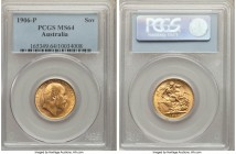 Edward VII gold Sovereign 1906-P MS64 PCGS, Perth mint, KM15. Slightly unlevel surfaces break the full mint luster into a pleasant satin effect, flowi...