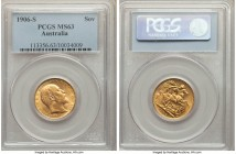 Edward VII gold Sovereign 1906-S MS63 PCGS, Sydney mint, KM15. A vivid sun-yellow selection with excellent definition to the devices, fully coated wit...