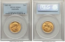 Edward VII gold Sovereign 1907-M MS64 PCGS, Melbourne mint, KM15. Dazzlingly lustrous and without a hint of significant handling. From the Caranett Co...