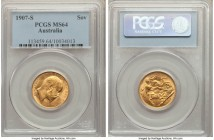 Edward VII gold Sovereign 1907-S MS64 PCGS, Sydney mint, KM15. The finest of this type to appear on the market for years, and choice for its already-i...