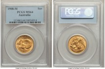 Edward VII gold Sovereign 1908-M MS64 PCGS, Melbourne mint, KM15. With none certified finer by NGC or PCGS, this spectacular piece bordering on gem si...
