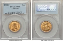 Edward VII gold Sovereign 1908-P MS64 PCGS, Perth mint, KM15. Flaring with matte luster, a wholly satisfying Sovereign and close to gem state. From th...