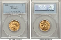 Edward VII gold Sovereign 1908-S MS64 PCGS, Sydney mint, KM15. Bearing the highest assigned grade for this type within both NGC and PCGS's databases, ...