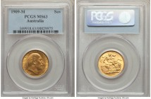 Edward VII gold Sovereign 1909-M MS63 PCGS, Melbourne mint, KM15. Alluring with excellent surfaces. From the Caranett Collection of Sovereigns - #1 PC...