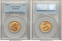 Edward VII gold Sovereign 1909-P MS63 PCGS, Perth mint, KM15. Just one point below the top grade level for the type, a gorgeous offering with no distr...