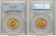 Edward VII gold Sovereign 1909-S MS64 PCGS, Sydney mint, KM15. Boasting the top grade for the type within either NGC or PCGS's databases, this choice ...