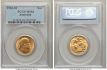 Edward VII gold Sovereign 1910-M MS64 PCGS, Melbourne mint, KM15. The joint finest graded for this final Edwardian Sovereign, its surface texture prim...