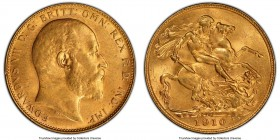 Edward VII gold Sovereign 1910-P MS63 PCGS, Perth mint, KM15, S-3972. Surpassed by just one example at PCGS or NGC combined, this choice Sovereign boa...
