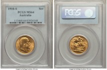 Edward VII gold Sovereign 1910-S MS64 PCGS, Sydney mint, KM15. Intensely attractive for its metallic golden sheen and crisp details, slight softening ...