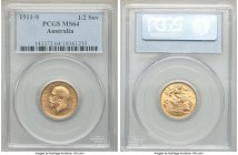 George V gold 1/2 Sovereign 1911-S MS64 PCGS, Sydney mint, KM28. Scarcely seen at auction in this high a technical quality, a piece whose sharpness su...