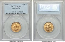George V gold 1/2 Sovereign 1912-S MS64 PCGS, Sydney mint, KM28. Sharp surfaces with a light gleam, the planchet colored a bold apricot, the entirety ...