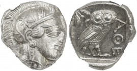 ATTICA: Anonymous, 440-404 BC, AR tetradrachm (17.20g), Athens, S-2526, helmeted bust of Athena right // owl standing right with head facing, olive sp...