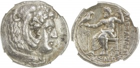 MACEDONIAN KINGDOM: Alexander III, the Great, 336-323, AR tetradrachm, Arados, Price-3332, struck under Menes or Laomedon, circa 324/3-320 BC, head of...