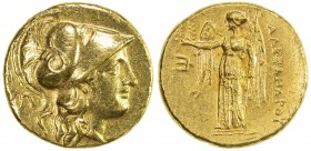 MACEDONIAN KINGDOM: Alexander III, the Great, 336-323, AV stater (8.53g), Amphipolis, Price-175, Head of Athena to right, wearing Corinthian helmet de...