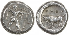 POSEIDONIA: AR didrachm (nomos) (8.13g), ca. 480-430 BC, SNG ANS 635 (same obverse die), Poseidon striding right, wielding trident, chlamys draped ove...