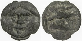 SARMATIANS: Anonymous, 400-350 BC, cast AE 36 (18.24g), Olbia, SNG Stancomb-347., Black Sea issue, Gorgoneion // eagle standing left on dolphin, Fine,...