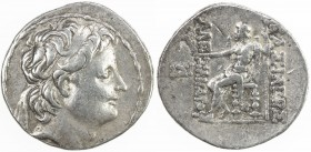SELEUKID KINGDOM: Alexander II Zabinas, 128-122 BC, AR tetradrachm (16.53g), Antioch, SC-2217.2, diademed head right // Zeus enthroned left, holding N...