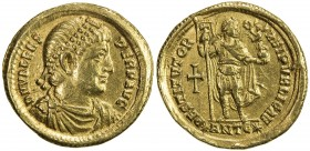 ROMAN EMPIRE: Valens, 364-378 AD, AV solidus (4.43g), Antioch, RIC-2d, D N VALENS PER F AVG, pearl-diademed, draped and cuirassed bust right // RESTIT...