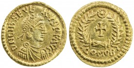 ROMAN EMPIRE: Libius Severus, 461-465, AV tremissis (1.44g), Comitatensian mint, RIC-2709, Lacam-67, pearl-diademed, draped and cuirassed bust right, ...
