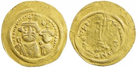 BYZANTINE EMPIRE: Heraclius, 610-641, AV solidus (3.70g), S-738 style, standard type (busts of Heraclius & his son // cross on steps), unidentified ba...