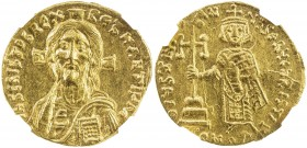BYZANTINE EMPIRE: Justinian II, First reign, 685-695, AV solidus (4.34g), Constantinople, S-1248, bust of Christ Pantocrator facing; cross behind // E...