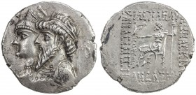 ELYMAIS: Kamnaskires III & Queen Anzaze, ca. 82-73 BC, AR tetradrachm (16.01g), Seleukia on the Hedyphon, ND, Van't Haaff-1-2, jugate draped busts of ...
