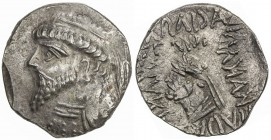 ELYMAIS: Kamnaskires V, ca. 62-54 BC, AR tetradrachm (15.39g), ND, Van't Haaff-9.2, diademed bust left, anchor behind // similar portrait with short h...